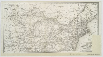 """Map of the Lake Region, St. Lawrence Valley and surrounding country."" New York Public Library Digital Collections."